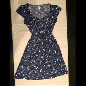Navy Blue Floral Midi Dress